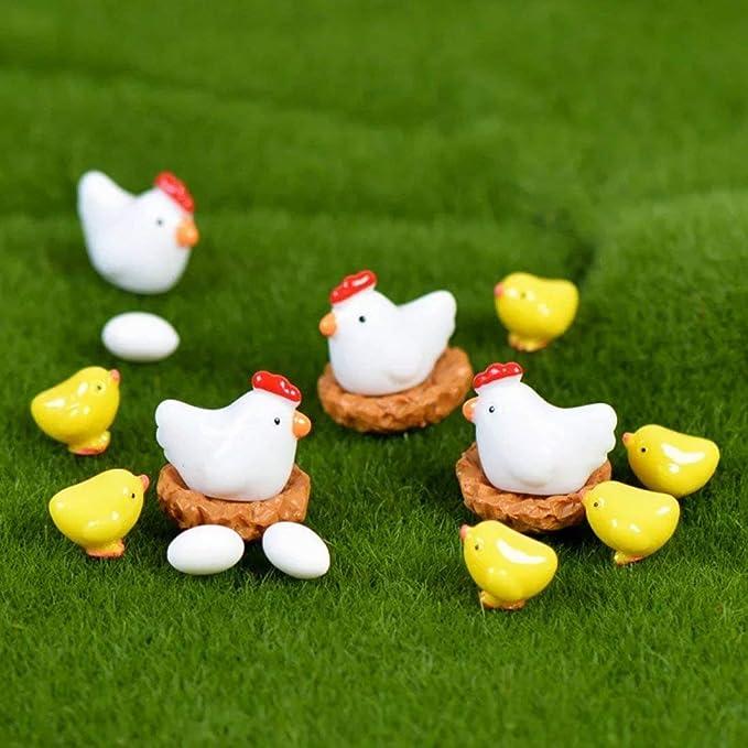 Danmu Mini Resin The Chickens and Eggs Set Miniature Plant Pots Bonsai Craft Micro Landscape DIY Decor
