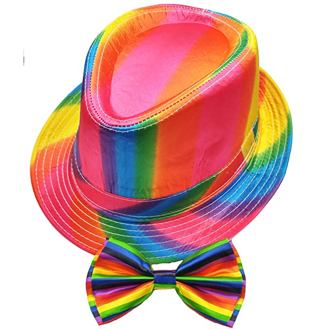 8a8def5ecc7258 Rainbow Fedora Hat and Bowtie Combo Set - Colorful Pride Style Short Brim  Trilby Fedora and