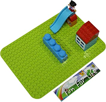 Compatible 15 x 10 Green Baseplate fit with Classic Duplo,Mega Bloks-Compatible Brick Building Base Fun For Life