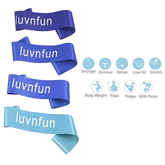Amazon.com : LuvnFun Fitness Bands Workout Bands Resistance For Leg Glute Exercise Loops Power Bands For Therapy With Carry Bag And Instructions, ...
