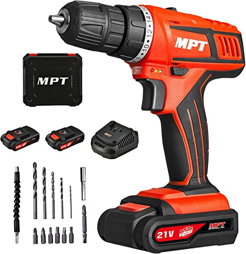 MPT 21V Max 3 8 inch Compact Cordless Drill Driver Set with Two 1.5Ah Lithium-ion Batteries,1 Hour Fast Charger Variable Speed Max Torque 310In-lbs 18 1 Position with LED