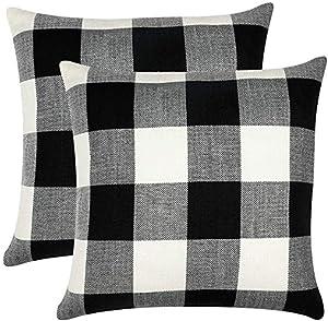 Classic Pillow Cover Set of 2 Cotton Linen Soft Soild Decorative Square Throw Pillow Covers Home Decor Design Set Cushion Case for Sofa Bedroom Car 18 x 18 Inch 45 x 45 cm 4 Pics (Black&White)