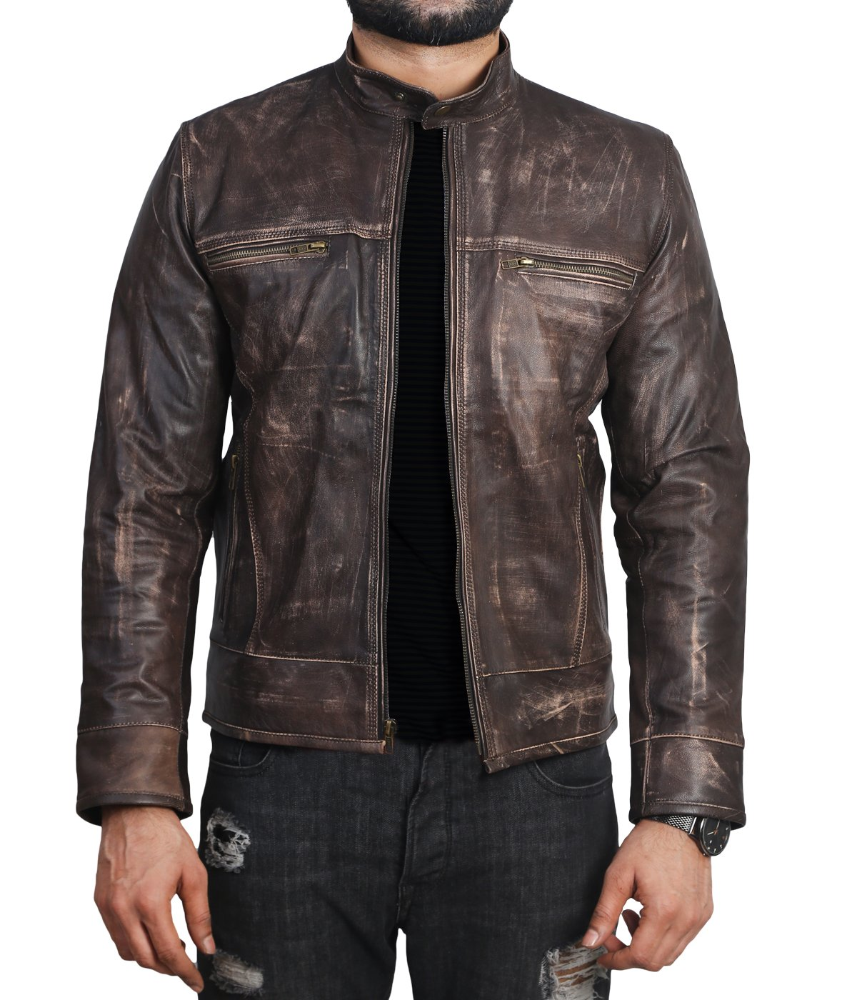 Urban Legends Men's Cafe Racer Triple Stitch Distressed Brown Wax Vintage Leather Jacket | All Sizes (3XL - Chest 54'') by Urban Legends
