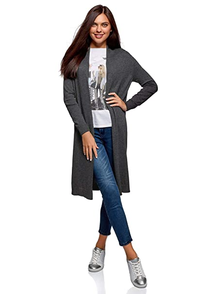 save off 7c332 77c54 oodji Collection Donna Cardigan Lungo Senza Chiusura