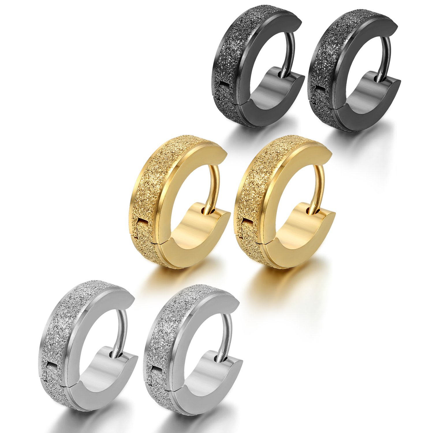 Oidea 6pcs 4MM Stainless Steel Hinge Hoop Earrings,Assorted Color Gold, Silver,Black,Hypoallergenic O030018-CA