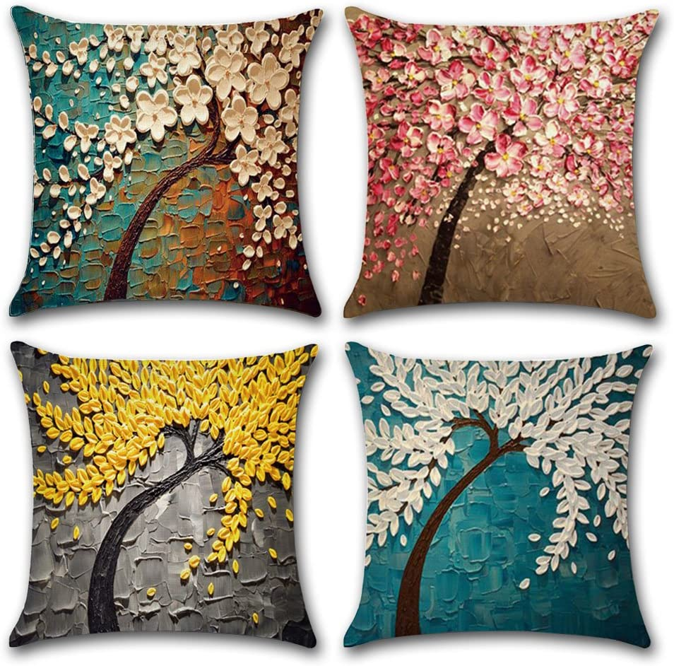 Ulove Love Yourself Cotton Linen Throw Pillow Case Oil Painting Square Home Decorative Cushion Cover For 18 X 18 Inches Pillow Inserts 4pack Multicolor Trees Home Kitchen