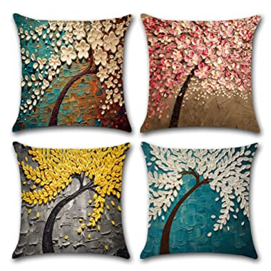 ULOVE LOVE YOURSELF Cotton Linen Throw Pillow Case Oil Painting Square Home Decorative Cushion Cover for 18 X 18 Inches Pillow Inserts, 4Pack Multicolor Trees