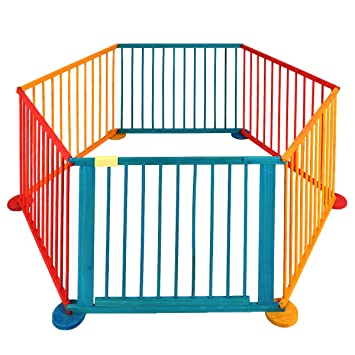 Cravog Child Baby Children Wooden Playpen Play Pen Room Divider Heavy Duty  Colourful UK (6