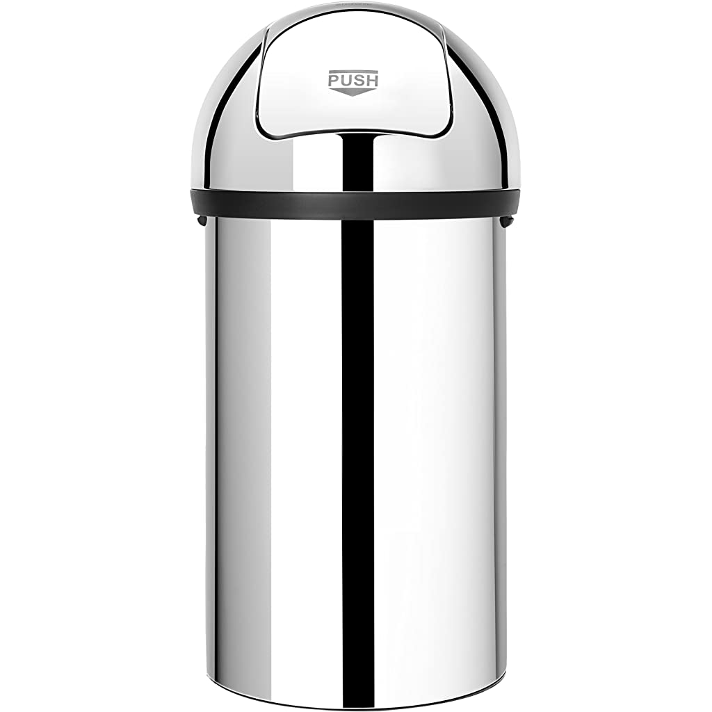 Brabantia Push Bin with Swing Lid, 60 Litre - Brilliant Steel