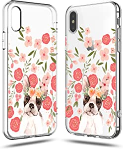 iPhone XR Case Women,Girls Cute Funny Puppy Dog Impact Animal Print French Bulldog Pink Flowers Floral Daisy Roses Blooms Trendy Lovely Transparent Clear Soft Case Compatible for iPhone XR