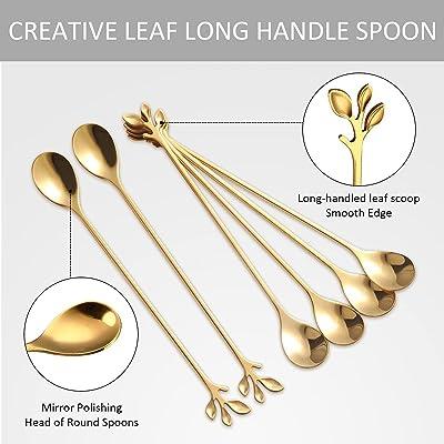 Gold Stainless Steel Long Handle Ice Spoon Coffee Tea Spoons Tableware