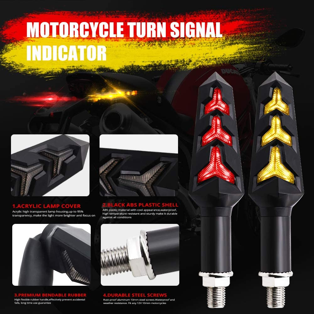 Amber//Red 2pcs Motorcycle Turn Signal Lights Y-shape Indicator Rear LED Motorbike Lights Amber Flowing /& Red DRL Running Lights for Yamaha Suzuki Kawasaki Scooter,Waterproof 12V.
