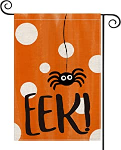 AVOIN Halloween Ekk Spider Garden Flag Vertical Double Sized, Polka Dot Day of The Dead Yard Outdoor Decoration 12.5 x 18 Inch