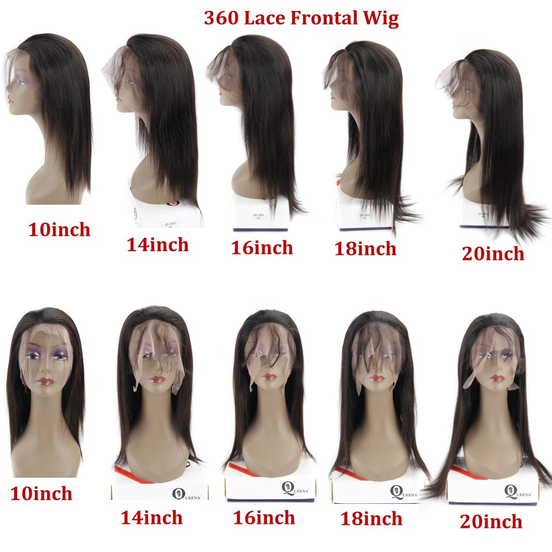 360 Frontal Lace Wig Straight 360 Lace Front Human Hair Wigs Peruvian Virgin 360 Lace Frontal Wig 130% Density with Pre Plucked Natural Hairline Baby Hair 360 Degree Lace Human Hair Wig (14inch) by QUEENA (Image #8)