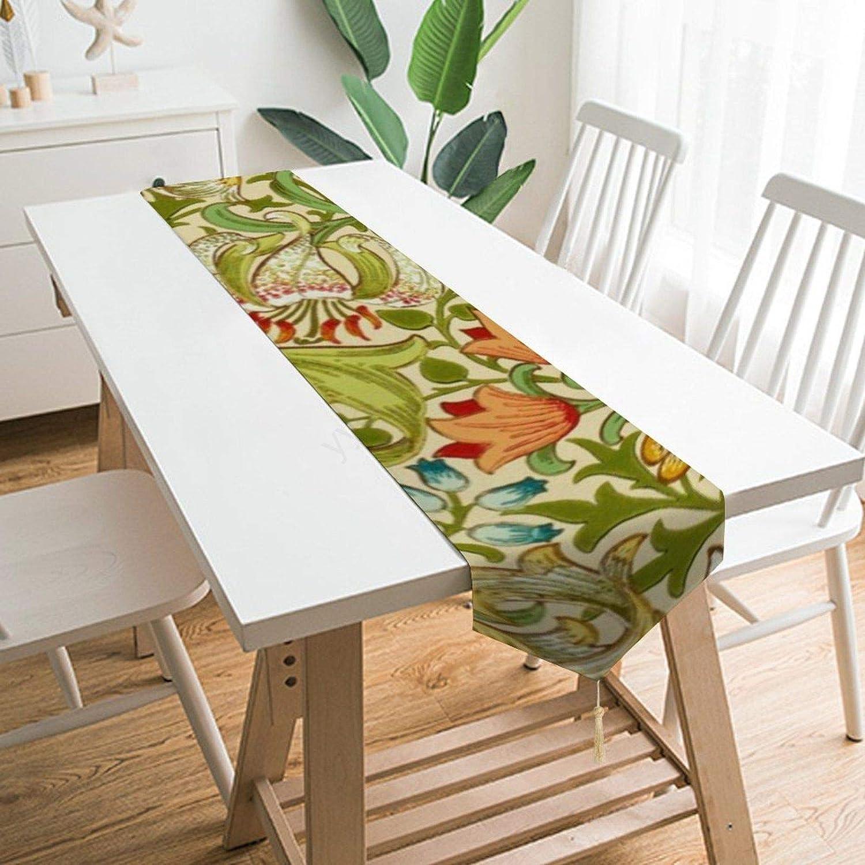 Table Runner Dresser Scarves,William Morris Golden Lily Vintage Pre-Raphaelite Polyester Table Runner Cloth Cover for Home Kitchen, Dinner Partiy, Wedding, Events, Decor - 13 X 70 Inch