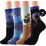 Art Crew Socks for Womens Funny Fun Novelty Crazy Cool Funky Gifts Pack of 4