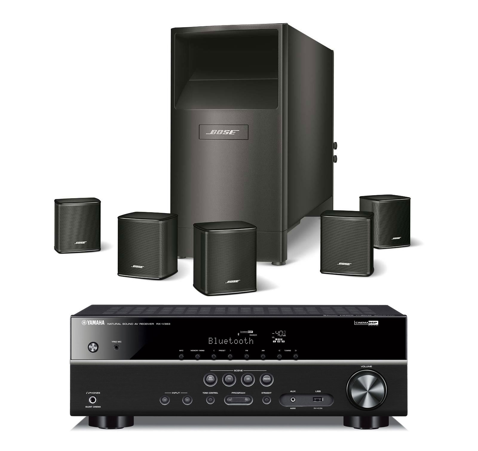 Bose Acoustimass 6 Series V Wired Home Theater Speaker System, Black, with Yamaha RXV383BL AV Bluetooth Receiver