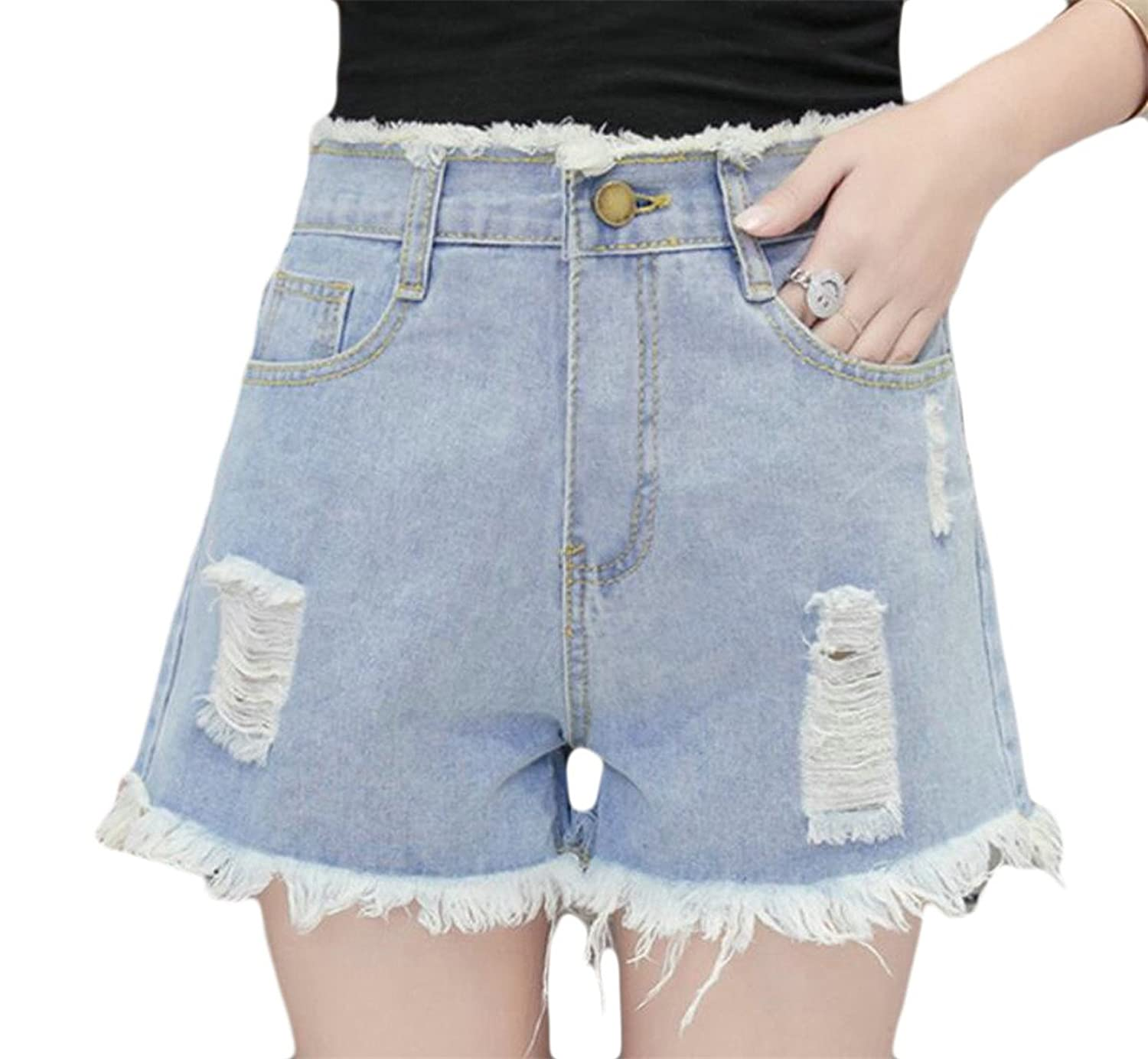 Alion Women High Waisted Tassel Stylish Casual Broken Holes Denim Shorts supplier