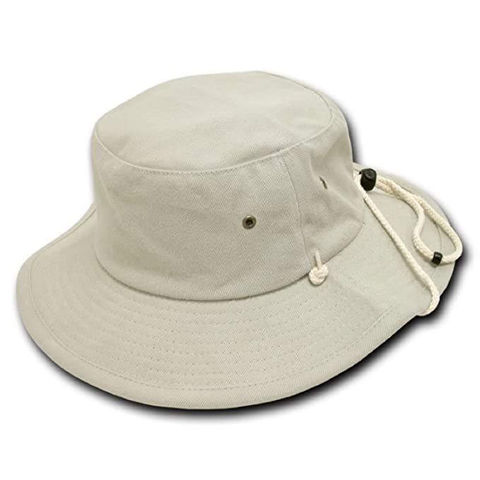 abf41cf53dd Amazon.com  Decky Aussie Style Outback Drawstring Bucket Hat (Stone ...