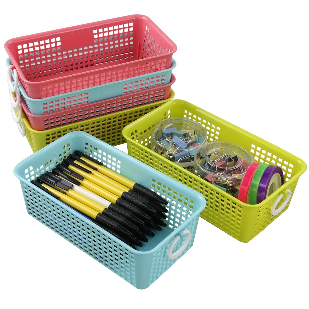 Cadine Small Plastic Rectangular Desktop Storage Basket, Pack of 6 Cadiners