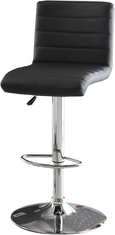 Furniture of America Milano Adjustable Leatherette Bar Stool, Black