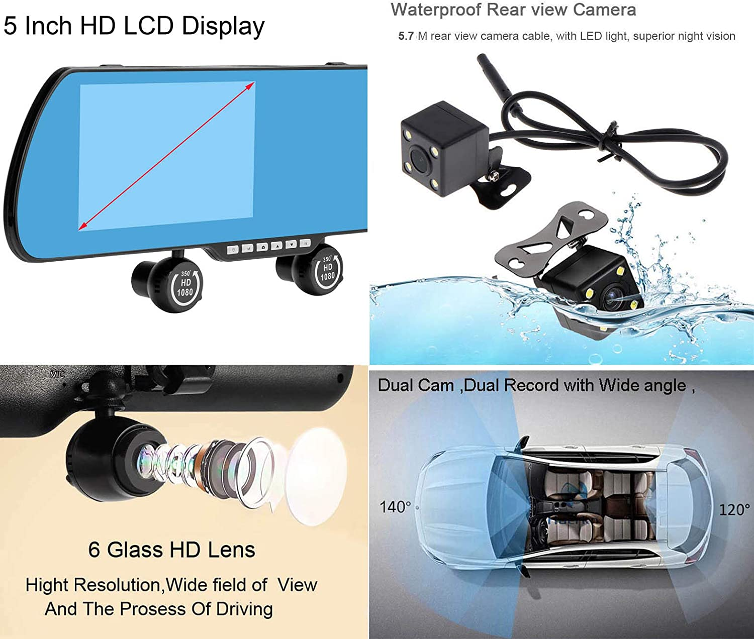 Smartwild Rear view mirror Camera Car DVR Three Lens Dash Cam Limit Time Offer