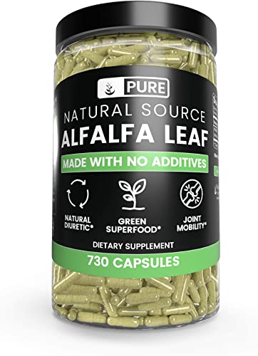 Natural Alfalfa Leaf, 730 Capsules, 3-Month Supply, No Stearates or Rice Filler, Made in USA, Pure and Gluten-Free, 1000 mg of Potent Undiluted Alfalfa Leaf per Serving with No Additives