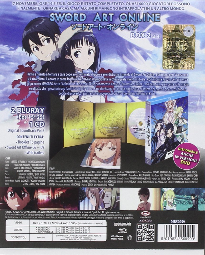 Amazon.com: sword art online box #02 (eps 15-25) (2 blu-ray+cd) box set blu_ray Italian Import: animazione, hiroshi hamasaki: Movies & TV