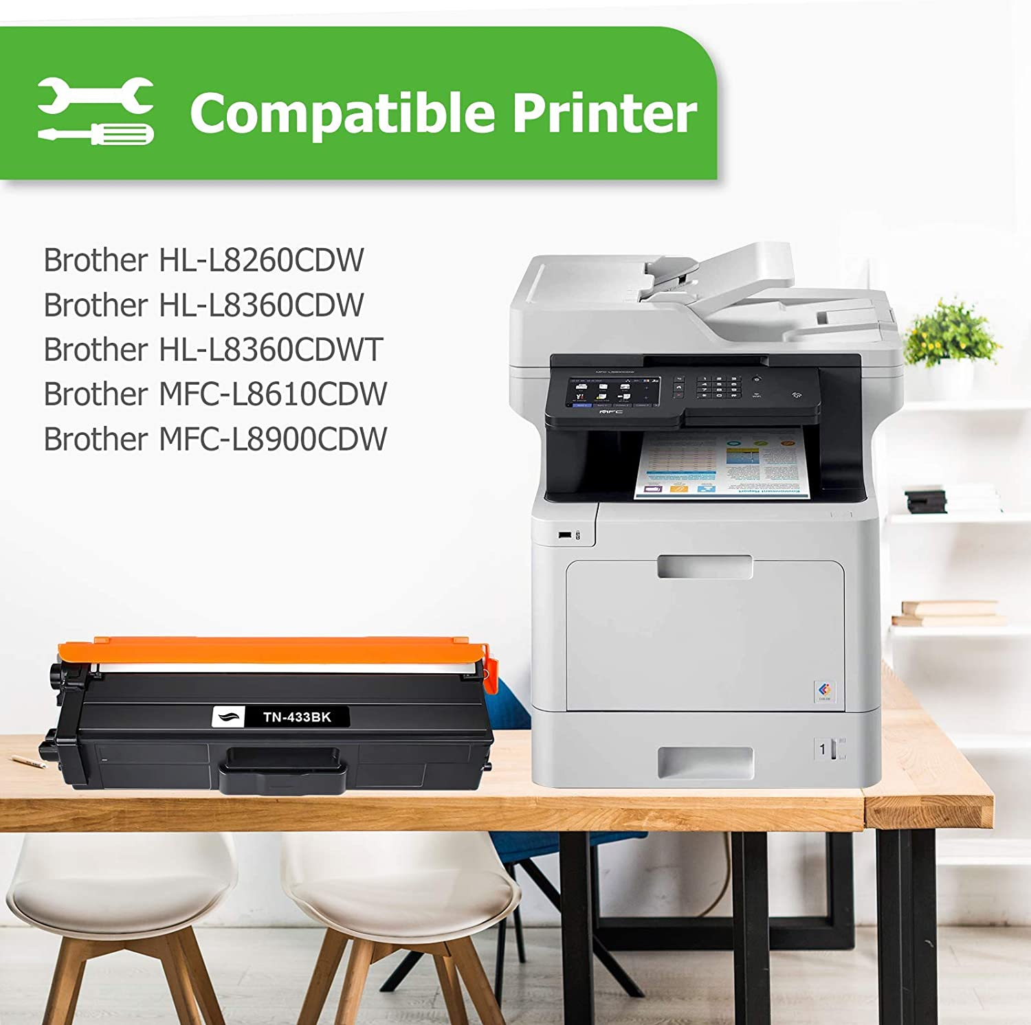 Works with: HL L8260CDW Harris Imaging Supply Compatible Toner Replacement for Brother TN433Y Yellow L8360CDW L8360CDWT; MFC L8610CDW L8900CDWHigh Yield