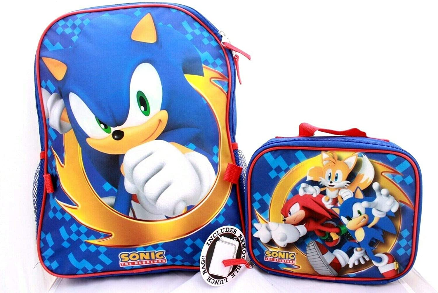 Amazon Com Sonic The Hedgehog Large Full Size 16 Backpack With Insulated Lunch Box Set Name Tag Clothing