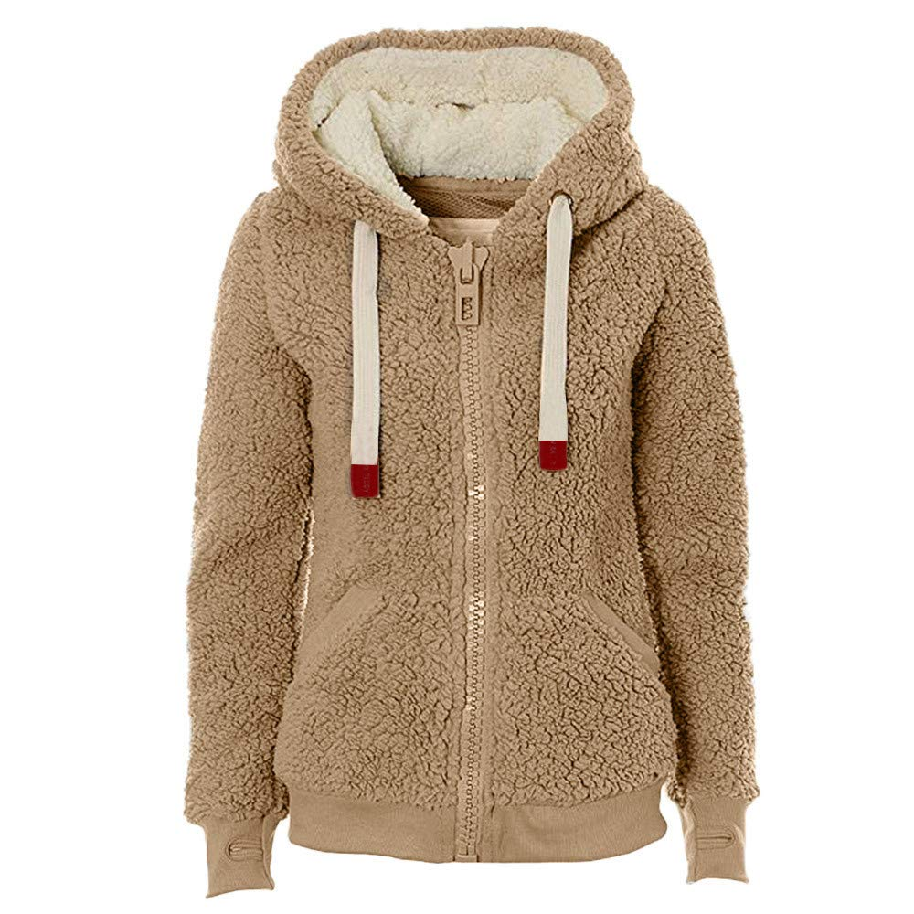 Baigoods Womens Soft Teddy Fleece Hooded Jumper Hoody Ladies Jacket Coat Cream Taupe Black Warm