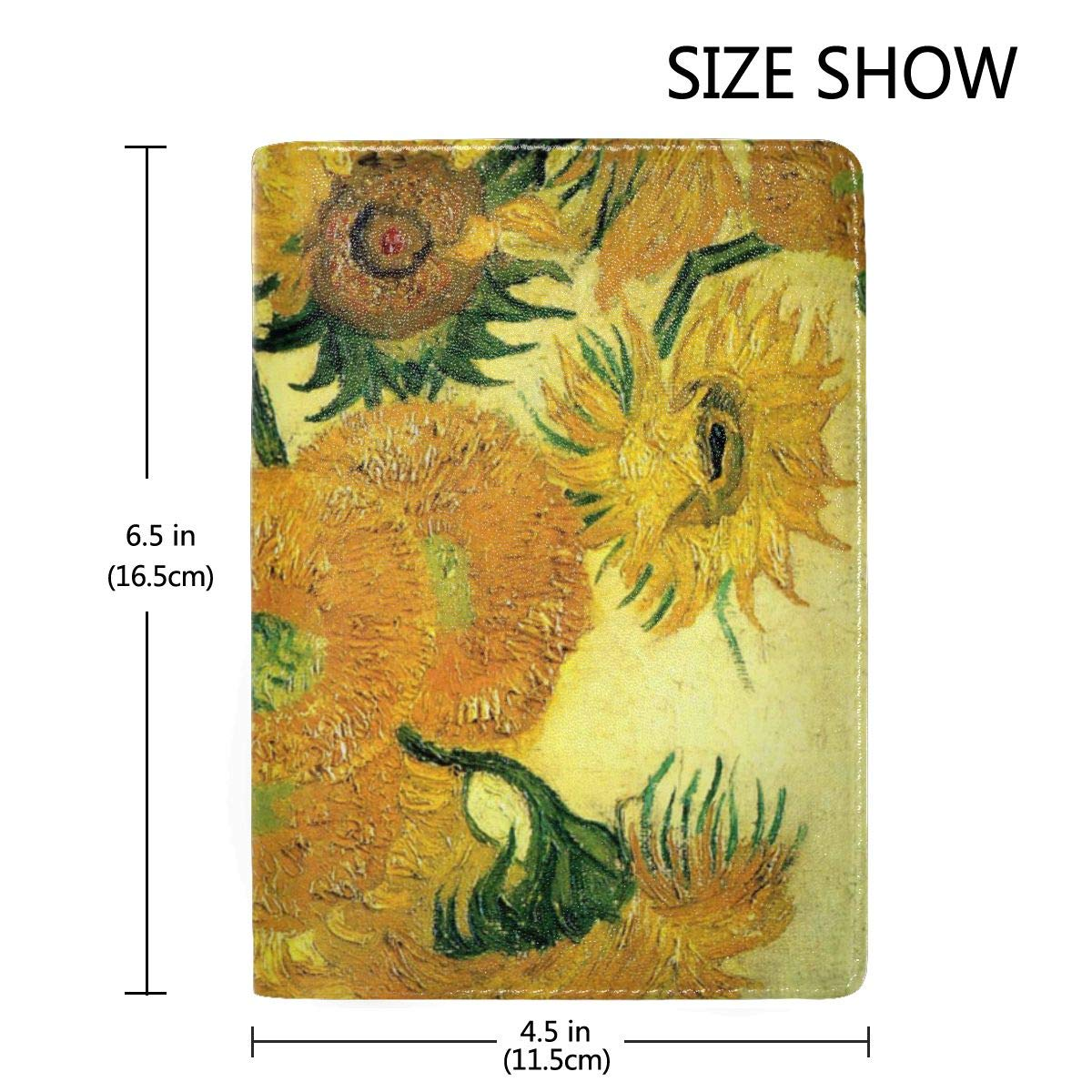 Van Gogh Sunflowers Fashion Leather Passport Holder Cover Case Travel Wallet 6.5 In