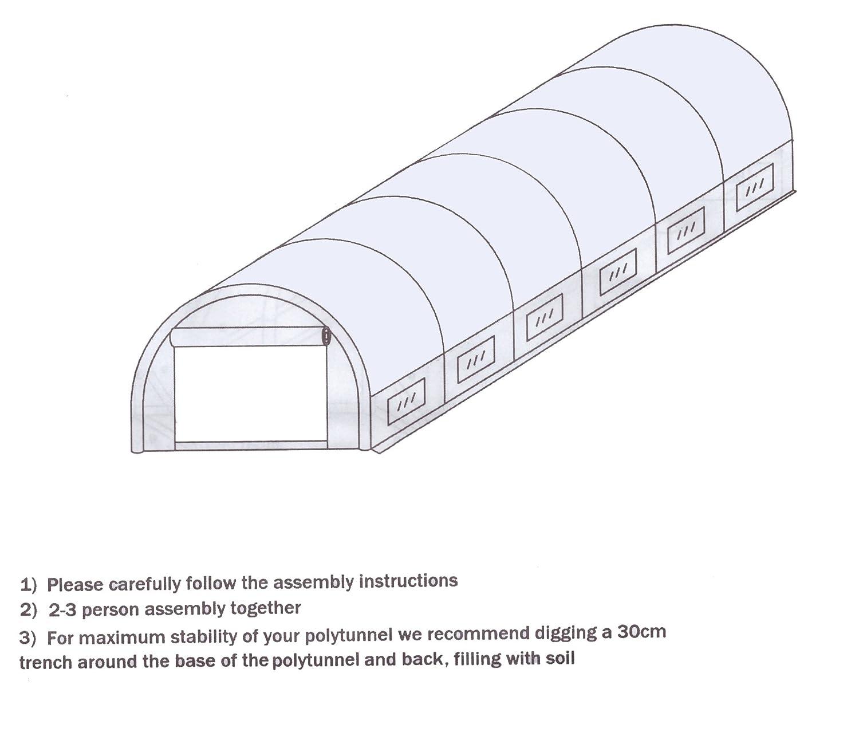 Polytunnel 20 X10ft With Galvanised Swing Metal Door Amazon
