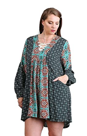 fd7715aaad1 Umgee Women s Lace Up Peasant Tunic Dress Boho Plus Size (XL