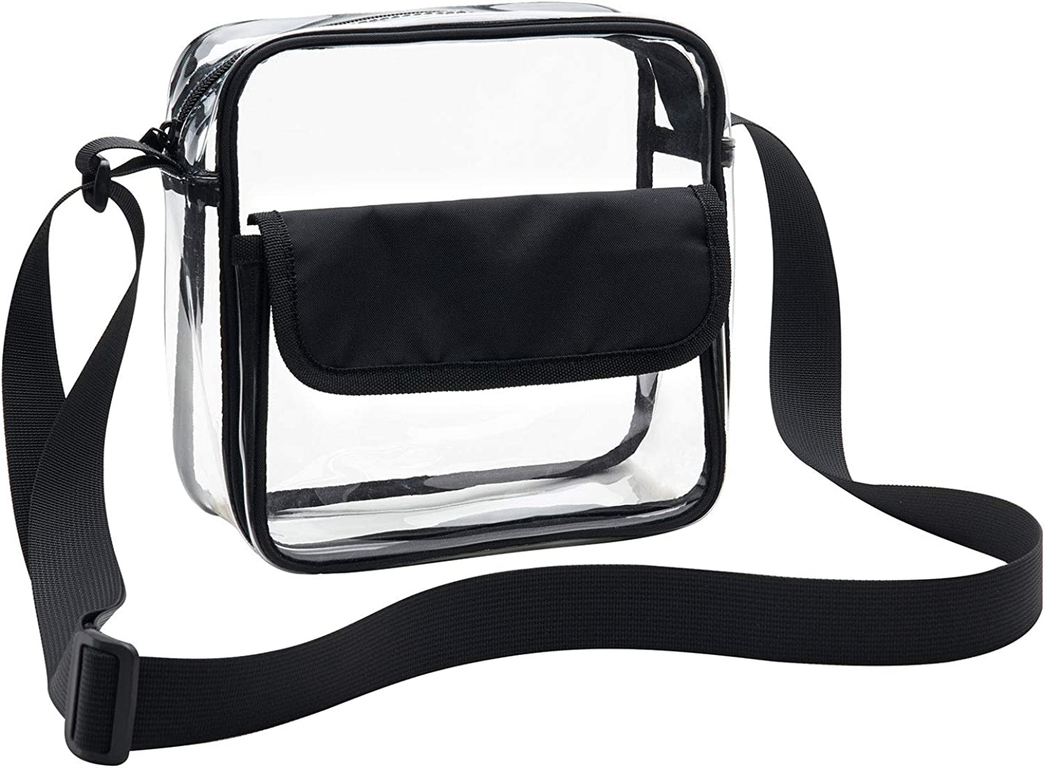 Vorspack Clear Crossbody Bag Stadium Approved Clear Bag Messenger Shoulder Bag with Adjustable Strap for Sports Event Concert Festival Work