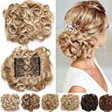 Short Combs Messy Curly Wavy Hair Extensions Bun Piece Up Do Drawstring Ponytail Clip in Comb Hair Extensions Chignon
