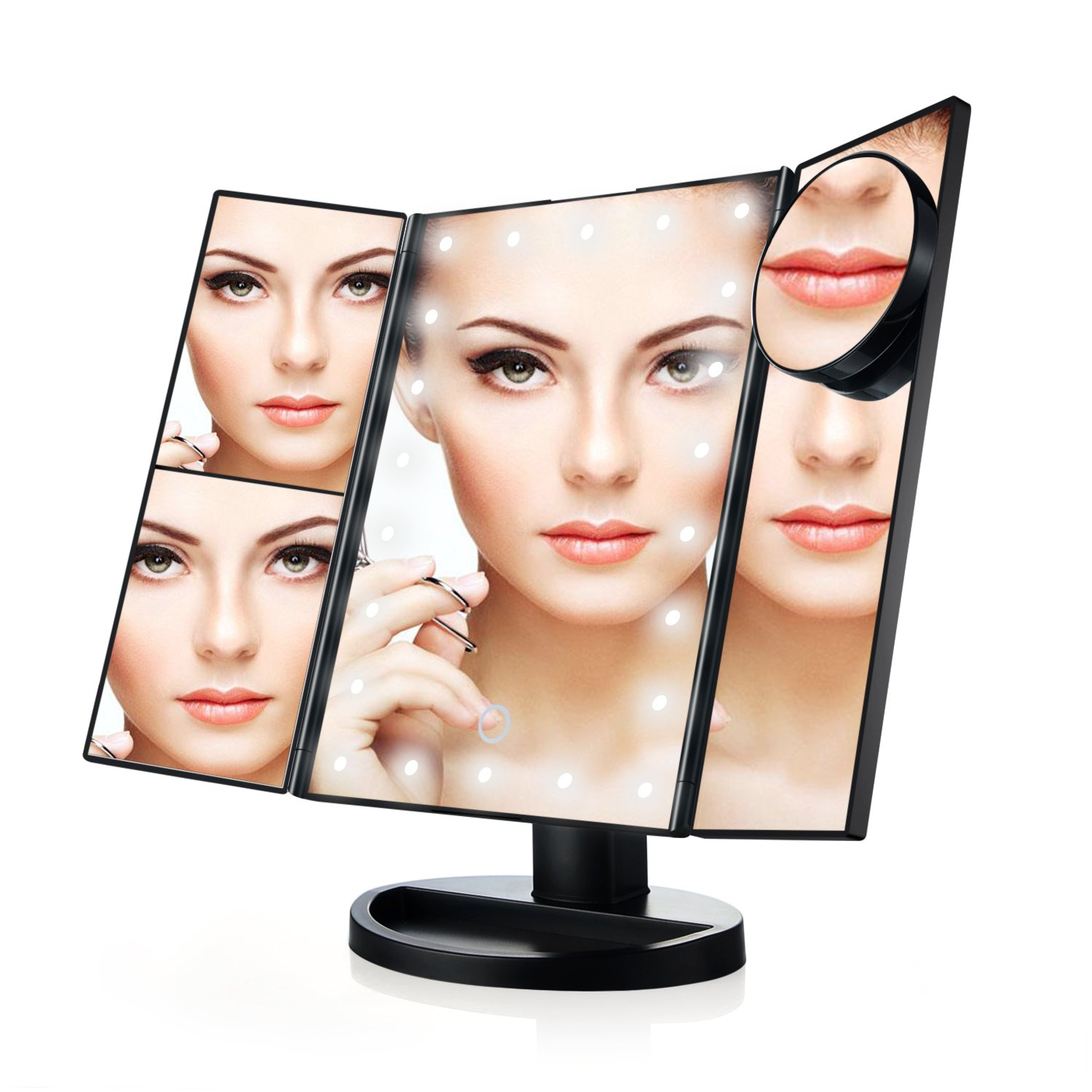Makeup Mirror Tri-Fold Vanity Lighted Touch Screen with 21 LED, 1X/2X/3X/10X Magnification Illuminating Travel Cosmetic Mirror (Black)