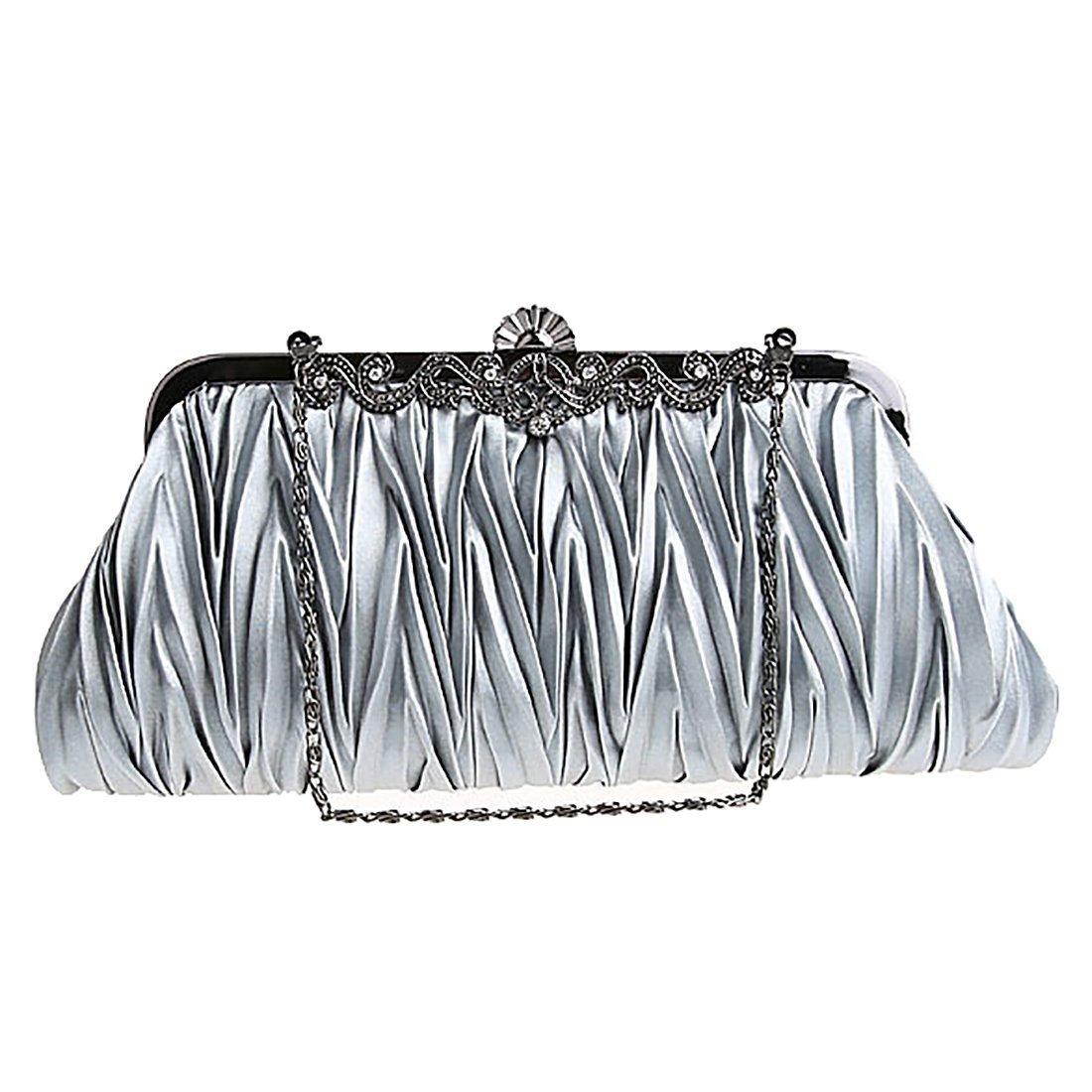 EROUGE Satin Purse Wallet Fashion Ladies Cocktail Evening Handbags Women Elegant Envelope Clutch (Gray)