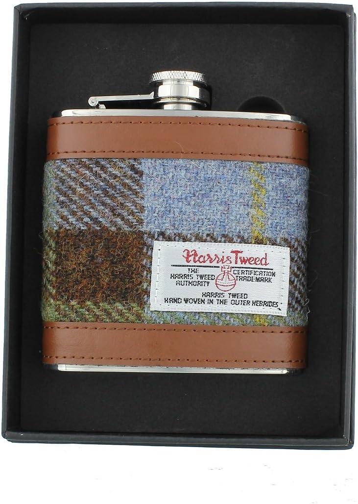 Glen Appin Harris Tweed Hip Flask Gift Boxed Brown