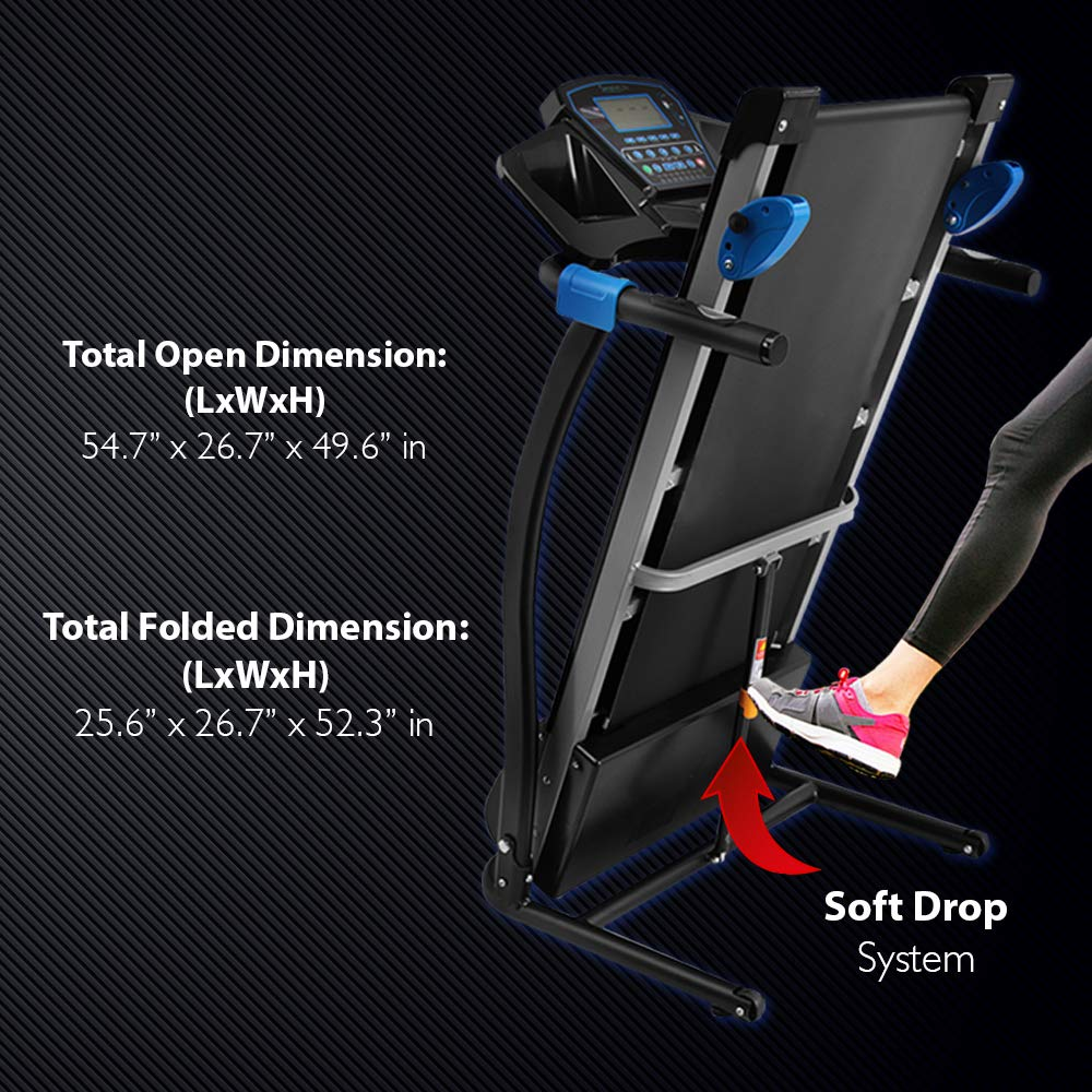SereneLife Smart Digital Folding Treadmill - Electric Foldable Exercise Fitness Machine, Large Running Surface, 3 Incline Settings, 16 Preset Program, Downloadable Sports App for Running & Walking by SereneLife (Image #4)