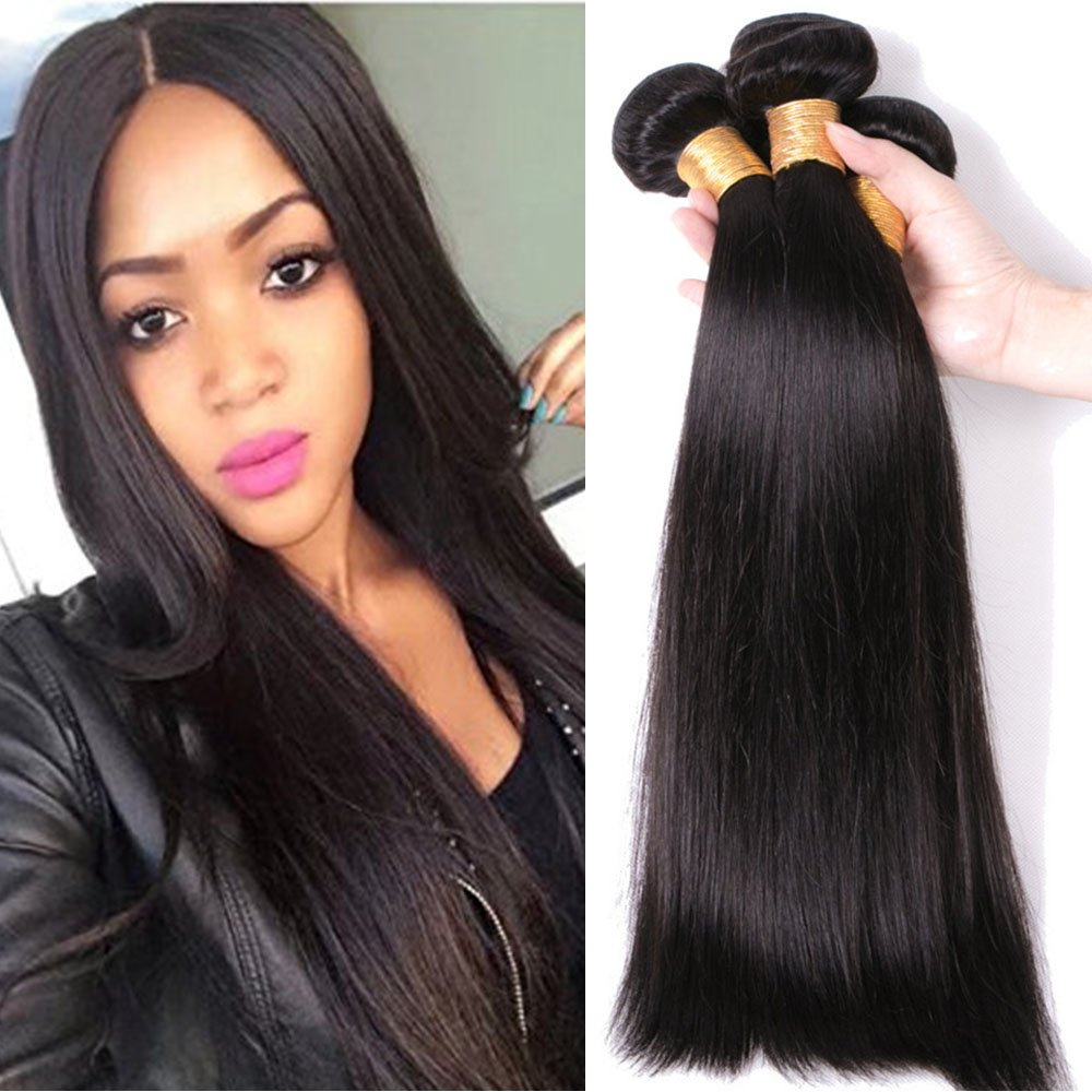 Tissage Bresilien Lisse Meches Bresiliennes Extension Cheveux Naturel Noir Naturel - Grade 7A Brazilian 100% Human Hair Straight - 10 Rich Choices