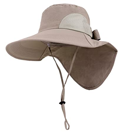 7ac7c318360 Image Unavailable. Image not available for. Color  Womens Foldable Flap  Cover UPF 50+ UV Protective Wide Brim Bucket Sun Hat Khaki