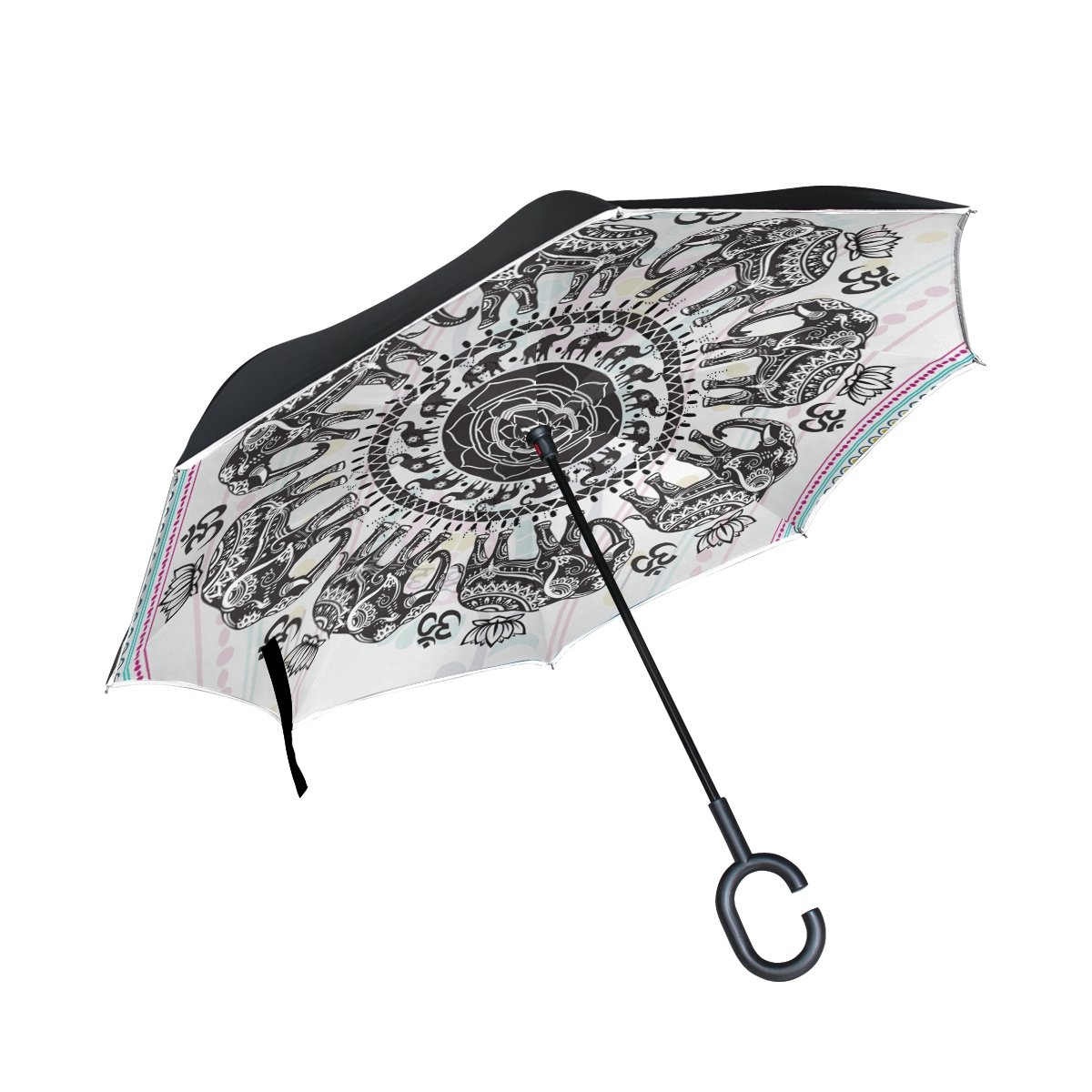 Double Layer Inside Out Folding Umbrella Upside Down Umbrellas with C-Shaped Handle for Women and Men Reverse Inverted Windproof Floral Flower White Roses Umbrella