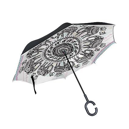 Amazon.com: Hippie indio Elefante Mandala invertida paraguas ...