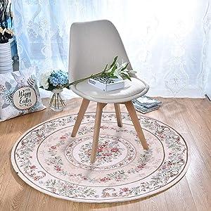 Eanpet Bohemian Chic Aera Rug Round Carpet Floor Mats Vintage Woven Mats for Livingroom Bedroom Yoga(Whtie,4ft)