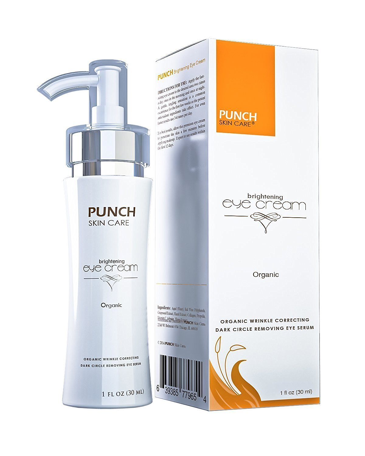 Punch Skin Care's Anti Aging Eye Cream | Anti Wrinkle Moisturizer Serum for Face and Eyes | Reduce Dark Circles, Puffiness, Under Eye Bags | Natural & Organic Day and Night Face Cream, (1 fl. oz)