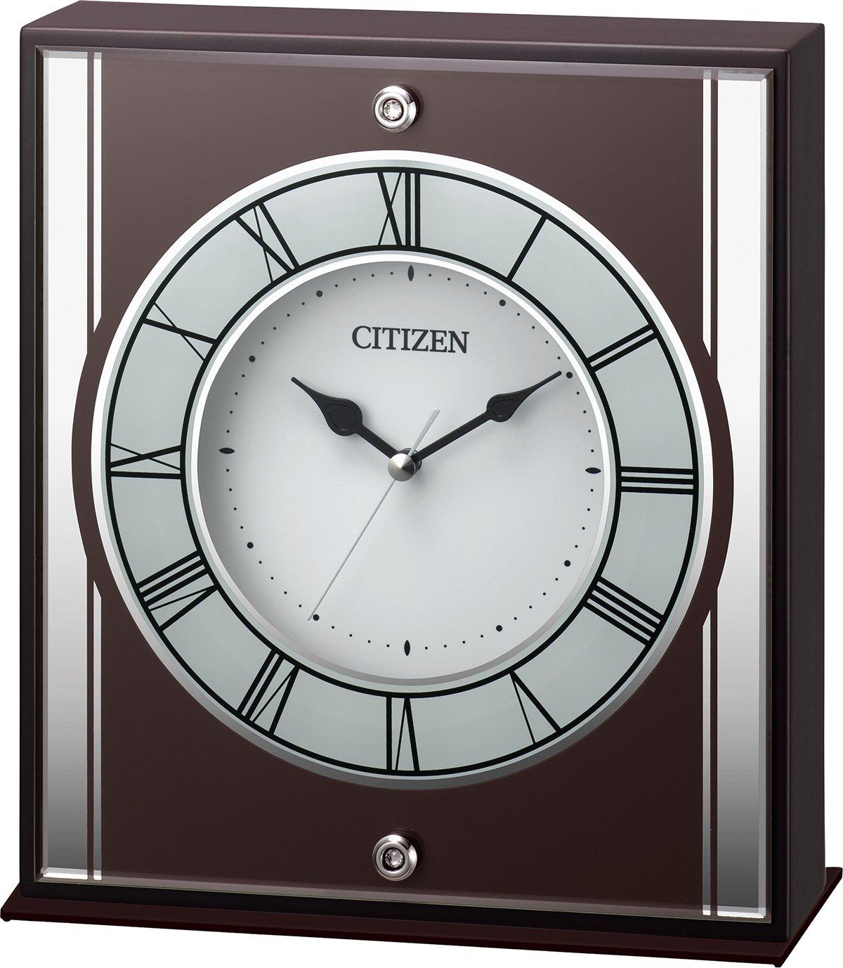 シチズン 置き時計 アナログ 連続秒針 木 茶 CITIZEN 8RG622-006 B01ID21HBC