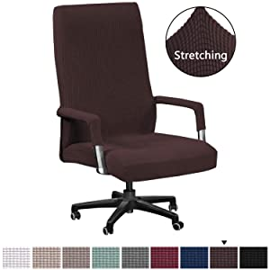 H.VERSAILTEX High Stretch Office Chair Cover, Jacquard Computer Office Chair Covers Jacquard Lycra Universal Boss Chair Covers Modern Simplism Style High Back Chair Slipcover (Oversized, Chocolate)