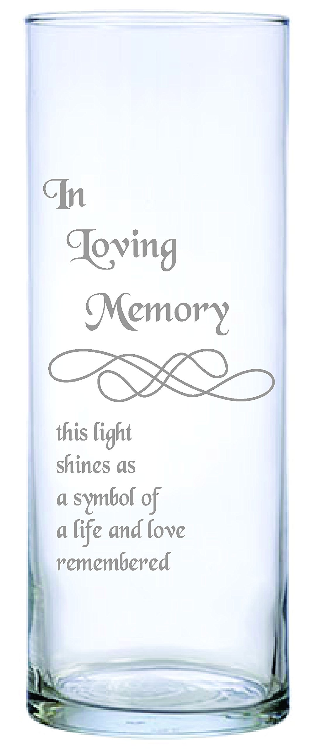 IE Laserware Beautifully Laser Etched Memorial Candle Comes Complete with 3'' Floating Candle. Just Add Water and Light The Wick