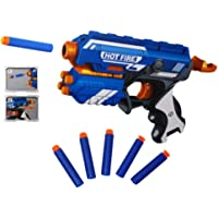 Popsugar Manual Blaze Storm Gun Blaster with 10 Foam Bullets for Kids,